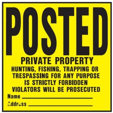 "11"" x 11"" Legal ""Posted"" Plastic Sign"