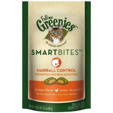 Feline Greenies Hairball Control Smartbites Cat Treats Chicken Flavor 2.1oz