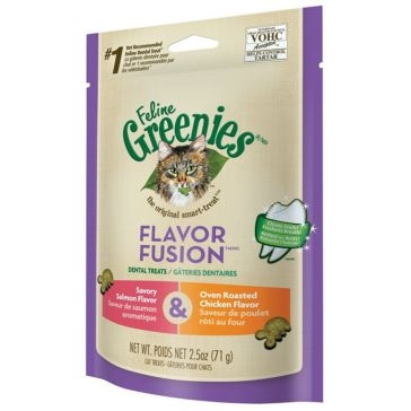 Feline Greenies Flavor Fusion Dental Cat Treats Chicken & Salmon Flavor 2.5oz