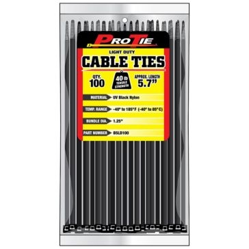 Pro Tie Black Nylon 40lb Light Duty Cable Ties