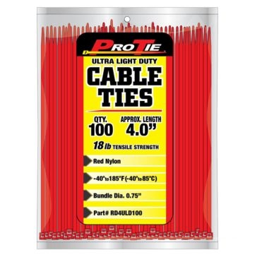 Pro Tie Red Nylon 18lb Ultra Light Duty Cable Ties