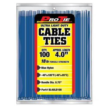 Pro Tie Blue Nylon 18lb Ultra Light Duty Cable Ties