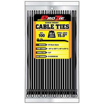 Pro Tie Black Nylon 50lb Screw Mount Cable Ties