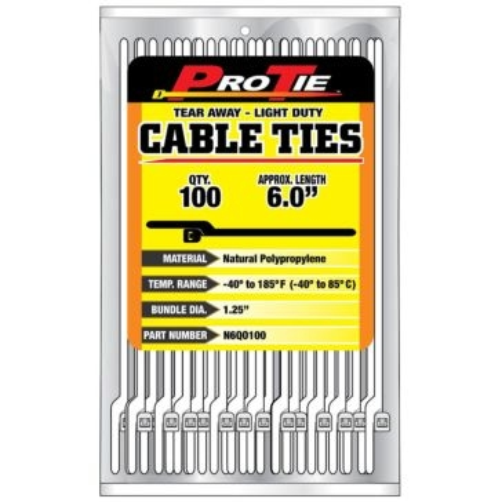 Pro Tie Natural Nylon EZ-OFF Light Duty Cable Ties