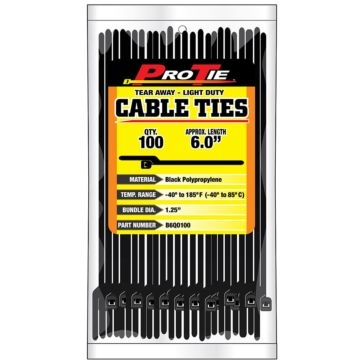 Pro Tie Black Nylon EZ-OFF Light Duty Cable Ties