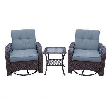 Discover Home 3 Piece Rattan Swivel Glider Set