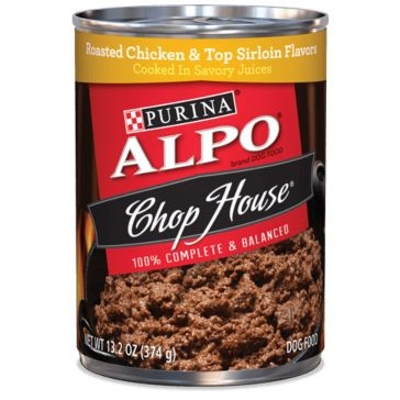 Purina Alpo Chop House Roasted Chicken & Top Sirloin Flavors Wet Dog Food 13oz