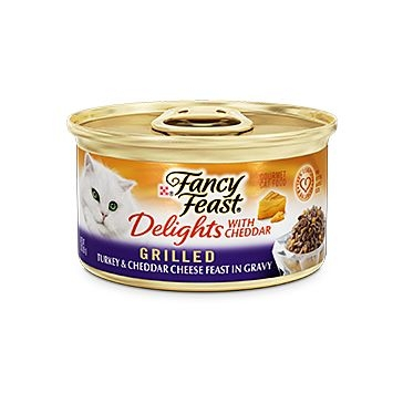 Fancy Feast Delights with Cheddar Grilled Turkey & Cheddar Cheese Feast in Gravy 3oz.