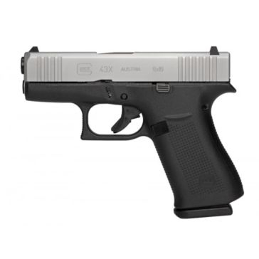 Glock 43X  Sub-Compact 9mm Pistol Silver Slide