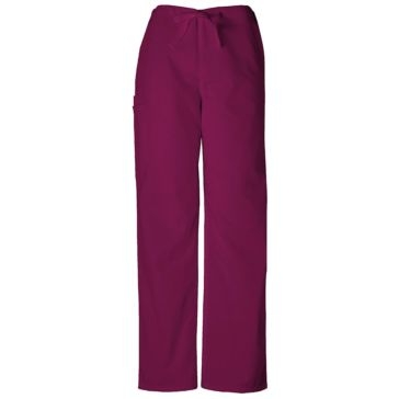 Unisex Drawsting Cargo Scrub Pants Wine