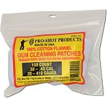 Pro-Shot Gun Cleaning Patches 100ct. .38-.45 Cal./.20-.410Ga.