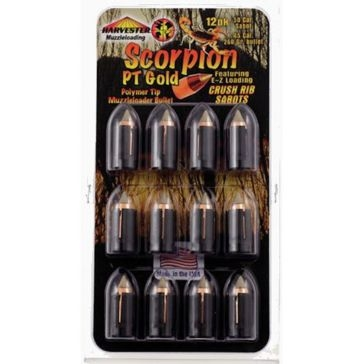 Harvester Scorpion PT Gold Polymer Tip Bullets - .50 Caliber 260 Grain