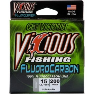 Vicious Fluorocarbon 15lb Fishing Line 200 Yard Spool