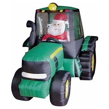 6' Inflatable Santa & Tractor Decoration