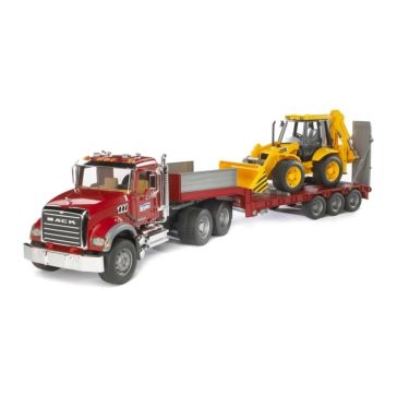 Bruder 1:16 Mack Truck with Backhoe and Trailer