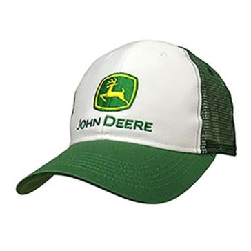 John Deere Mens White With Mesh Back Cap