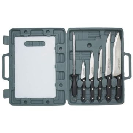 Maxam 7-Piece Knife Cutlery Set w/ Cutting Board