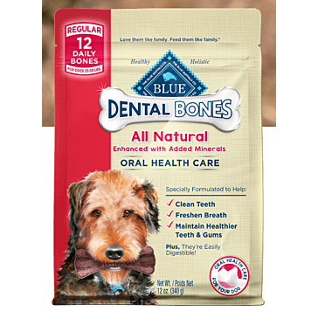 Blue Buffalo Regular Blue Bones Natural Dog Dental Chews, 27 oz.