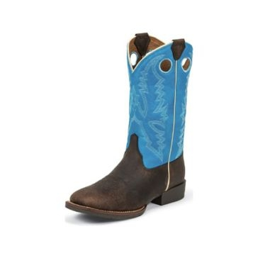 Justin Kids Chocolate Buffalo Bent Rail Boots