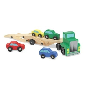 Melissa and Doug Car Carrier Truck & Cars Wooden Toy Set