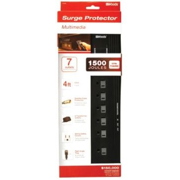 Coleman Cable Surge Protector Strip 7 Outlet 041603