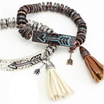 Wyo-Horse Arrow and Tassel Metal Beaded Bracelet