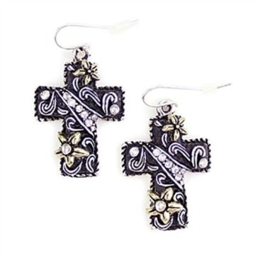 Wyo-Horse Black/Silver/Gold Cross Charm Earrings