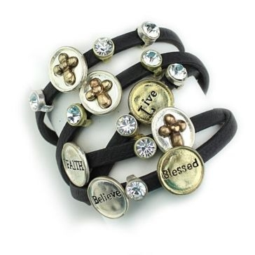 Wyo-Horse Black Leather Hope/Faith Charm Wrap Bracelet