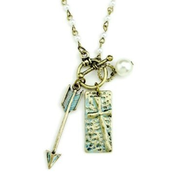 Wyo-Horse Patina Handcrafted Arrow and Cross Necklace