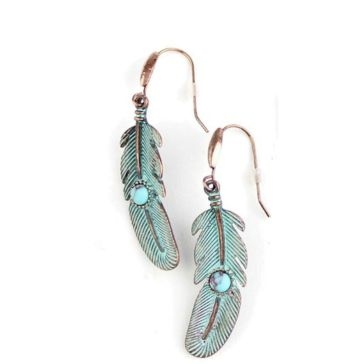 Wyo-Horse Patina With Turquoise Center Feather Earrings