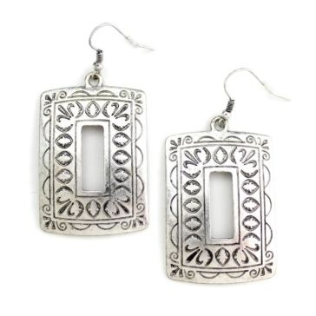 Wyo-Horse Silver Square Window Earrings