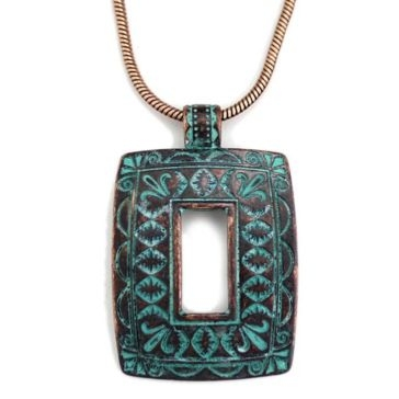 Wyo-Horse Patina Square Window Necklace