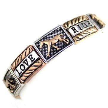 Wyo-Horse Three-Toned Live Love Ride Horse Bracelet