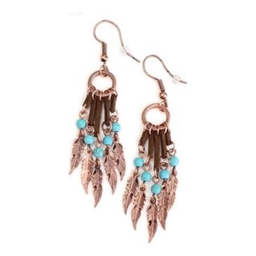 Wyo-Horse Feather Tassel Earrings - Turquoise/Copper