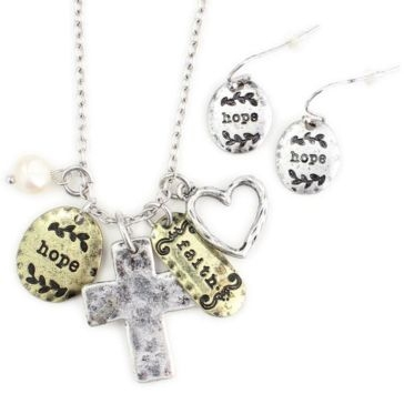 Wyo-Horse Hope and Faith Cross Cluster Necklace & Earring Set - Two-Tone Finish