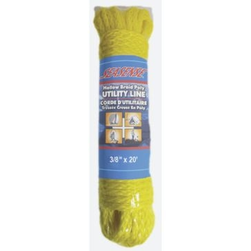 "SeaSense 3/8"" x 20' Hollow Braid Polypropylene Utility Line in Yellow 50013143"