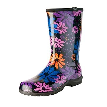 Sloggers Flower Power Black Boots