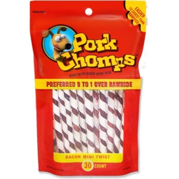 Premium Pork Chomps Bacon Flavor Porkskin Twists 30-Count