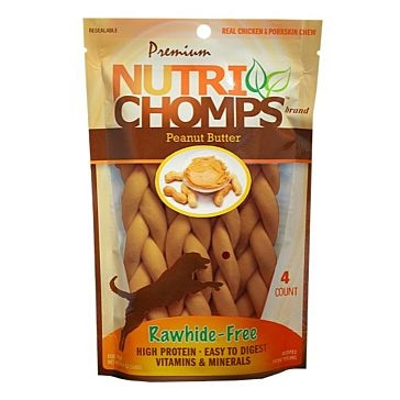 "Nutri Chomps 6"" Peanut Butter Braid 4 Ct."