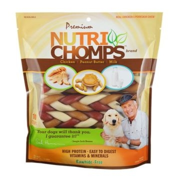 "Nutri Chomp Mixed Flavor 6"" Braided Bone 10 Ct."