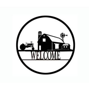 Backyard Expressions 30in Farm Scene Welcome Wheel