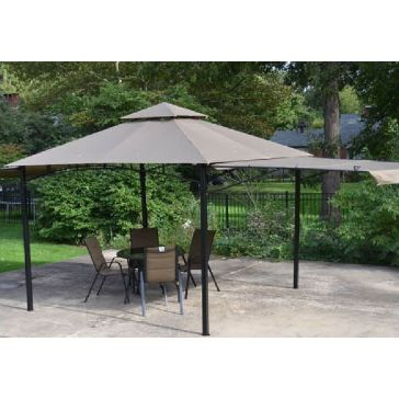 Gazebo With Textilene Cover And Folding Sides