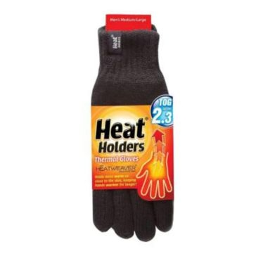 Heat Holders Mens Black Thermal Gloves - M/L