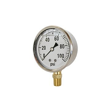 Valley Industries Liquid Filled Pressure Gauge, 2.5