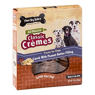 Three Dog Bakery Classic Crèmes Carob with Peanut Butter 13oz