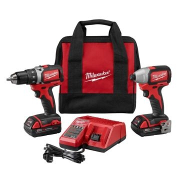 """Milwaukee M18 Cordless Brushless 18V 1/2"""" Drill and 1/4"""" Impact Driver Combo 2798-22CT"""