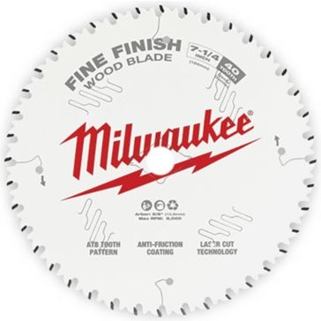 "Milwaukee 7-1/4"" 40T Fine Finish Circular Saw Blade"