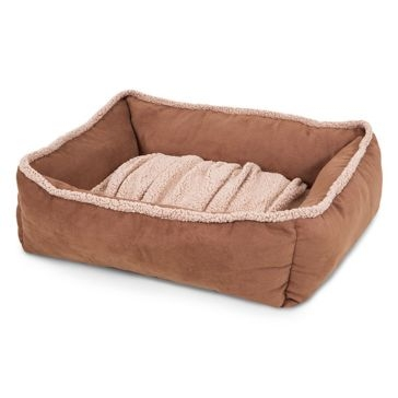 Aspen Pet Shearling Lounger Dog Bed Tan 80385