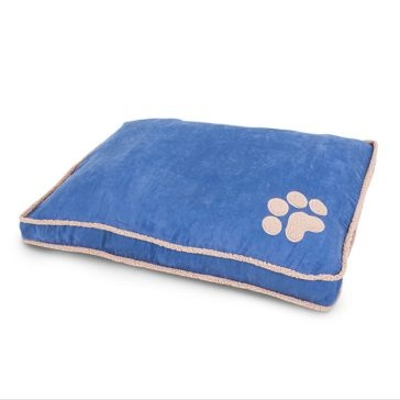 Aspen Pet Shearling Gusseted Pillow Bed Blue 80417