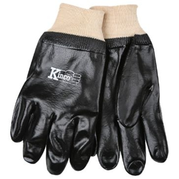 Kinco Black Smooth PVC Knit Wrist Gloves - Large